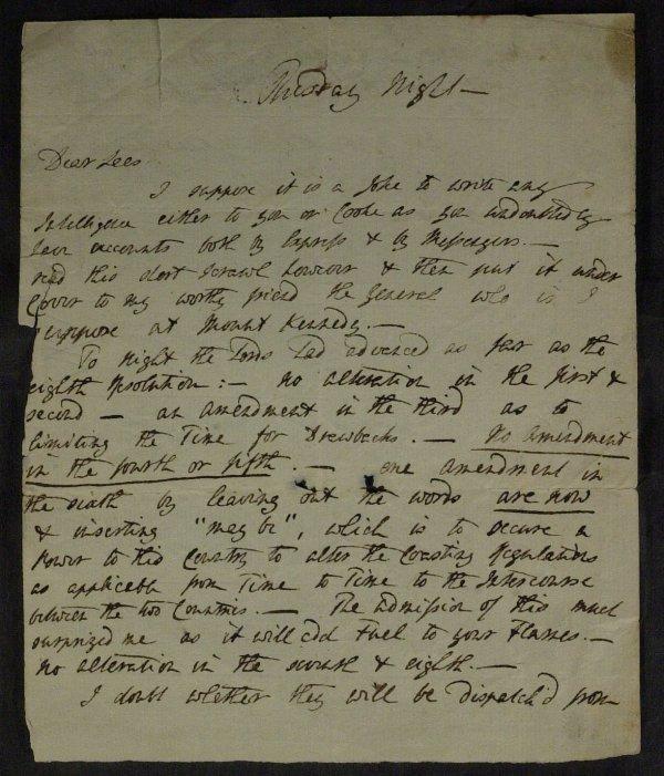 7: WILLIAM EDEN Brit Statesman - Autograph Ltr Signed