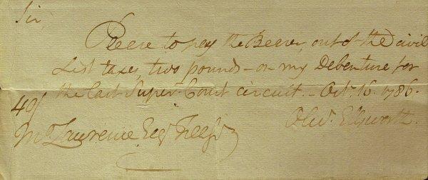 9: OLIVER ELLSWORTH 1786 Document Signed