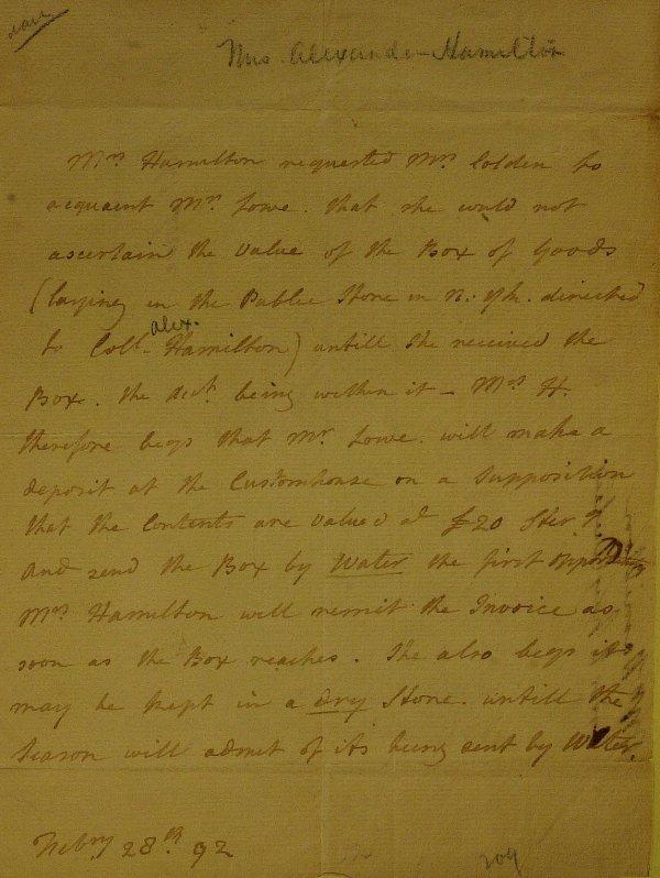 11: ELIZABETH SCHUYLER HAMILTON - Autograph Ltr Signed