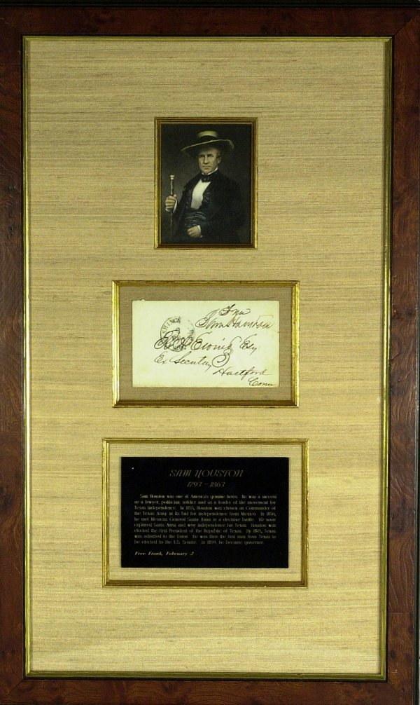13: Texas Pres SAM HOUSTON - Framed Signature