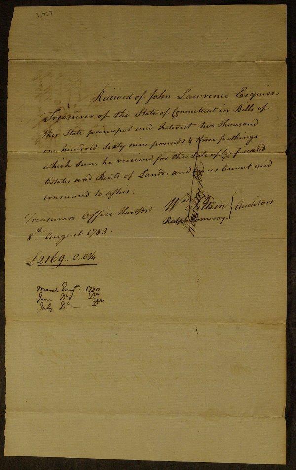 16: 1783 Ct Tax Receipt - Signed By JEDEDIAH HUNTINGTON