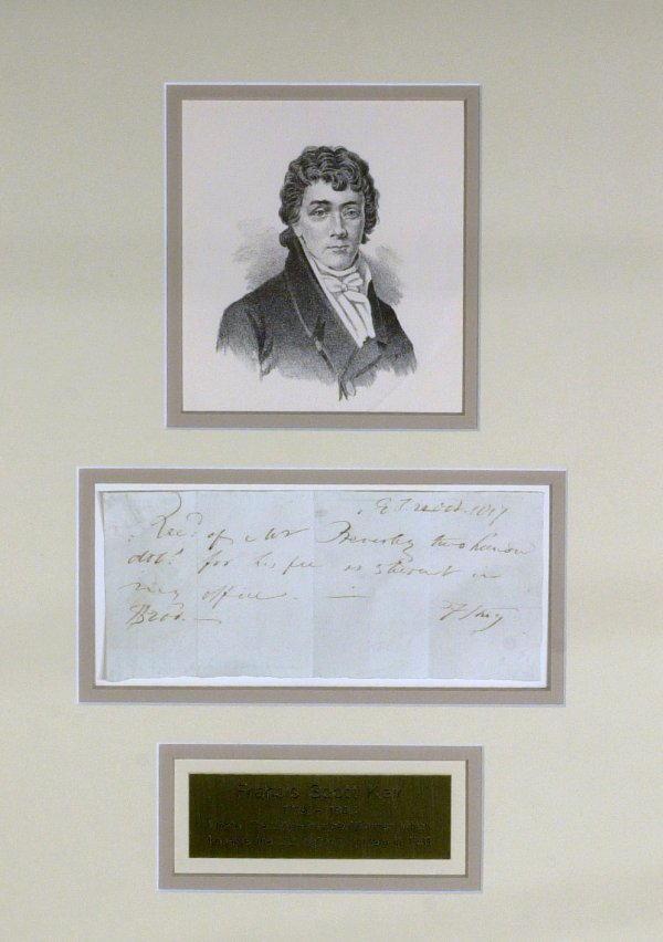 17: FRANCIS SCOTT KEY - Framed Signed Receipt