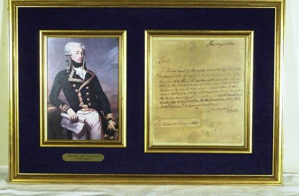19: French General LAFAYETTE - Framed Letter Signed