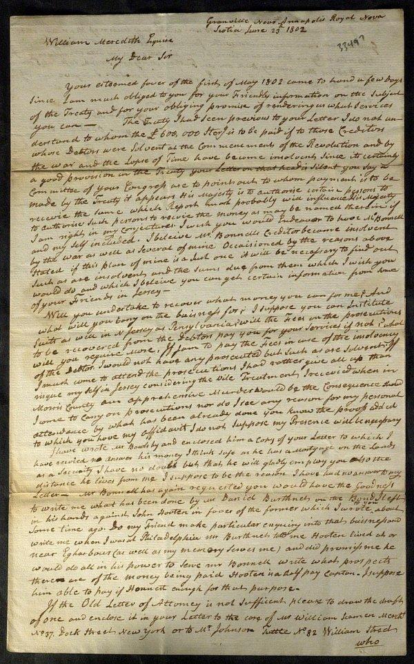 22: Nova Scotia THOMAS MILLIDGE - Autograph Ltr Signed