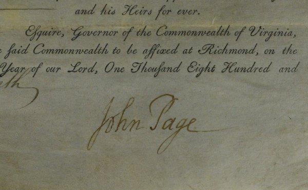 24: VA Politician JOHN PAGE - Virginia Document Signed