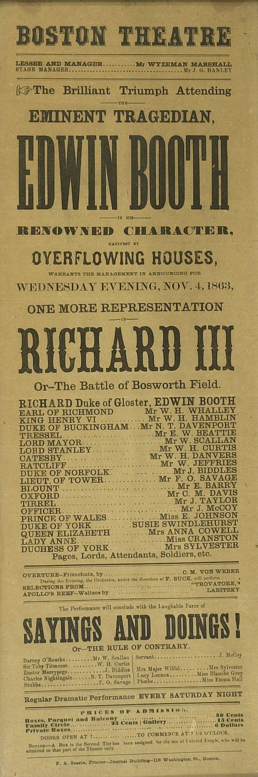 614: Actor (EDWIN BOOTH) 1864 Broadside - Richard III