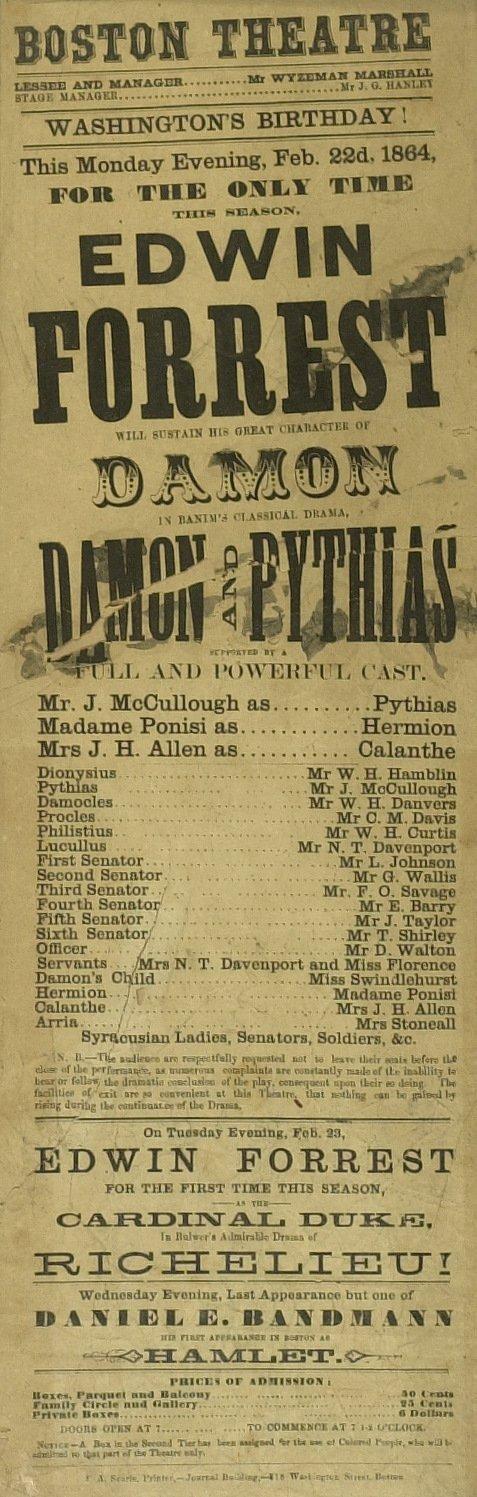 615: Stage Actor (EDWIN FORREST) - 1864 Broadside