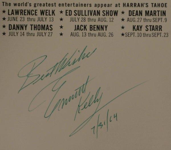 """619: """"Weary Willie"""" Clown EMMETT KELLY- Brochure Signed"""