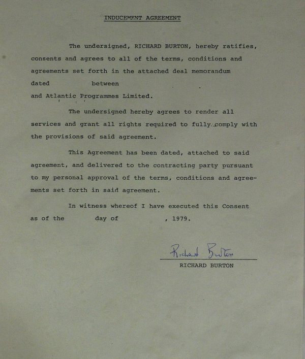 635A: Welch Actor RICHARD BURTON - Contract Signed