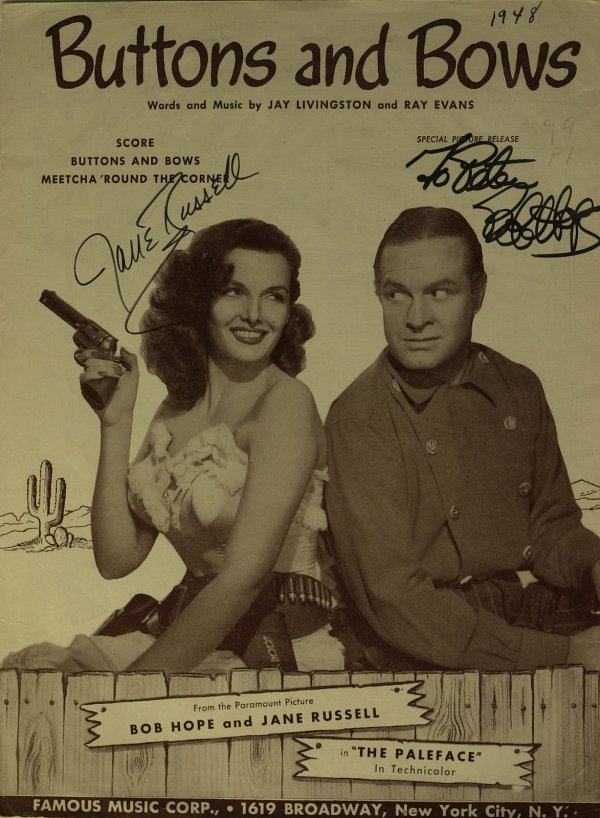 671: BOB HOPE and JANE RUSSELL - Sheet Music Signed