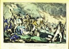 """999: Framed Currier Print- """"Battle at Bunker Hill"""" 1848"""