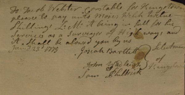 2: NH Signer JOSIAH BARTLETT - 1775 Document Signed