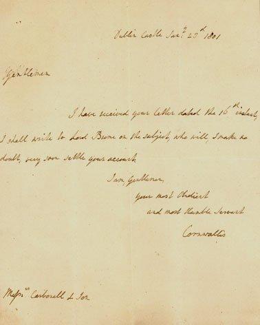 6: British GenCHARLES CORNWALLIS- Autograph Ltr Signed