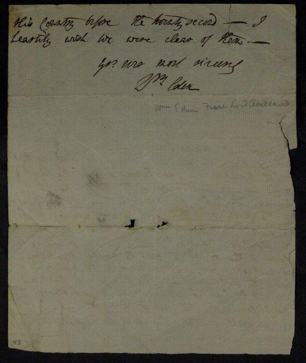 8: WILLIAM EDEN Brit Statesman - Autograph Ltr Signed