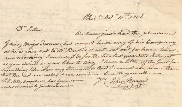 13: Postmaster Gen EBENEZER HAZARD - Ltr Signed