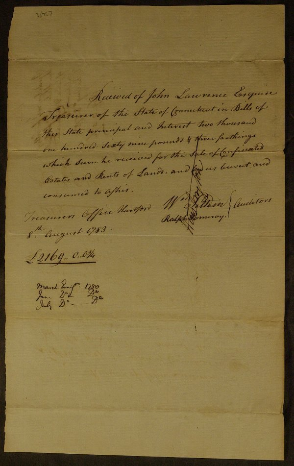 18: 1783 Ct Tax Receipt - Signed By JEDEDIAH HUNTINGTON