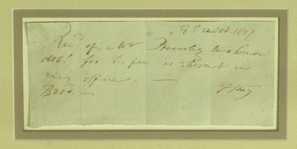 19: FRANCIS SCOTT KEY - Framed Signed Receipt