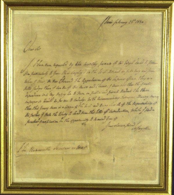 21: French General LAFAYETTE - Framed Letter Signed