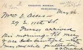 68: First Lady FRANCES CLEVELAND - Autograph Telegram