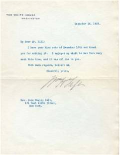 82: Pres WILLIAM HOWARD TAFT - Typed WH Ltr Signed