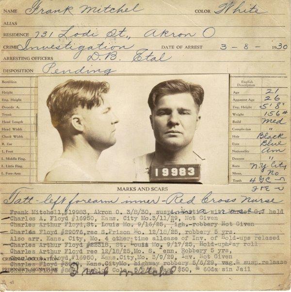 416: PRETTY BOY FLOYD - Signed Fingerprint/ Mug Shot