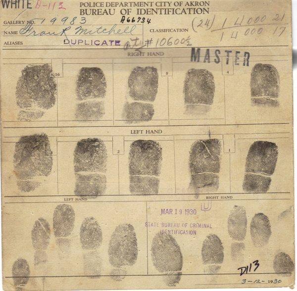 416: PRETTY BOY FLOYD - Signed Fingerprint/ Mug Shot - 2