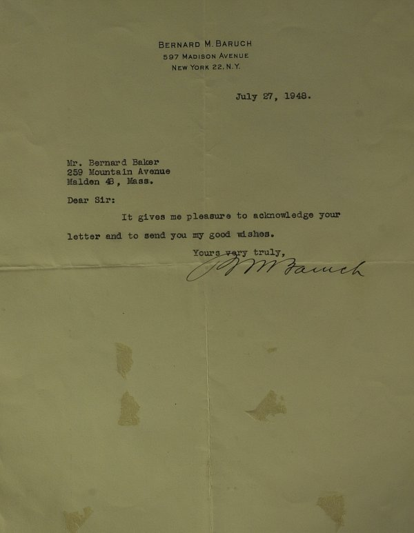 617: Financier BERNARD BARUCH - Typed Ltr Signed