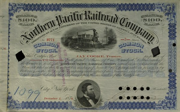 619: Financier JAY COOKE - Stock Certificate Signed