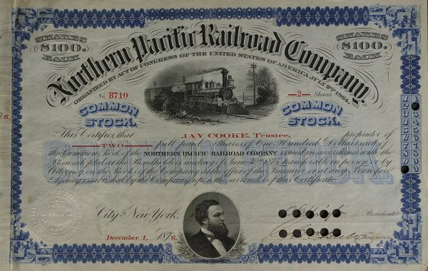 620: Financier JAY COOKE - No Paific Stock Certificate