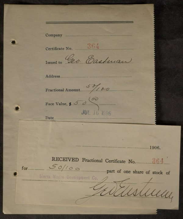 624: Inventor GEORGE EASTMAN - Receipt Signed