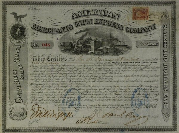 627: Amex Founder WILLIAM FARGO - Stock Cert Signed
