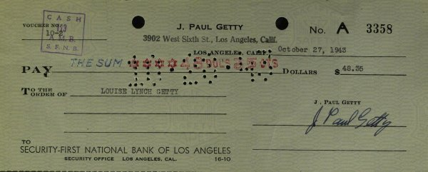 631: Oilman J PAUL GETTY - Check to His Wife Signed