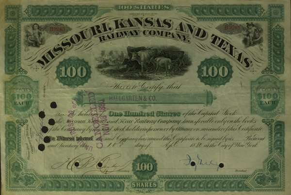 633: Financier JAY GOULD - Stock Certificate Signed