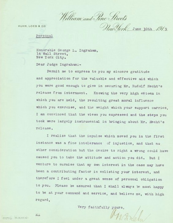 636: Investment Banker OTTO KAHN - Typed Ltr Signed