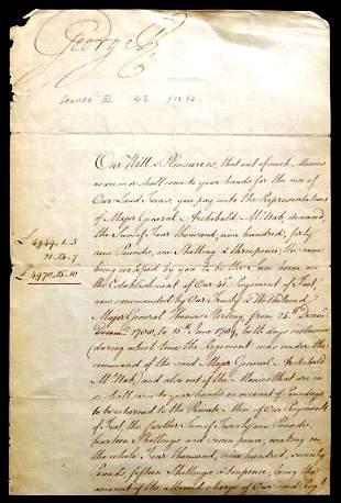 British Monarch GEORGE !!! - Document Signed