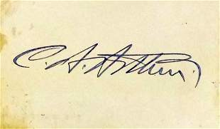 21st President CHESTER A. ARTHUR - Card Signed