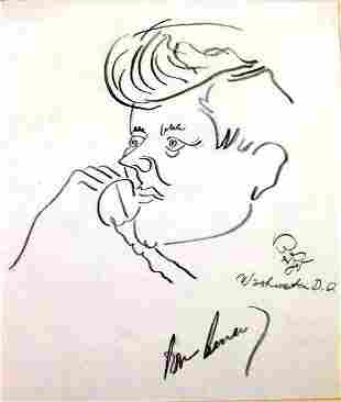 35th President JOHN F. KENNEDY - Caricature Signed