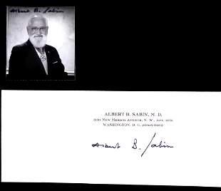 Polio Vaccine ALBERT SABIN - Letter & Photo Signed