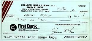 Moonwalker JIM IRWIN - Check Written & Signed
