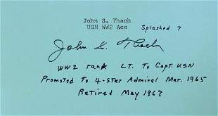 Naval Aviator, Admiral JIMMIE THARCH - Card Signed