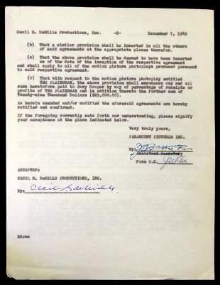 """Filmmaker CECILE B deMILLE - """"The Plainsman"""" Contract"""