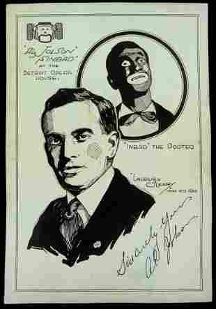 Singer, Actor AL JOLSON - Original Sketch Signed