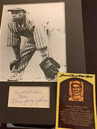 Negro League Stars Johnson and Bell Two Signed Items