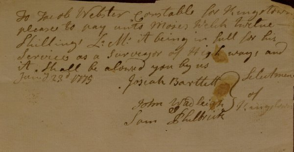 1: NH Signer JOSIAH BARTLETT - 1775 Document Signed