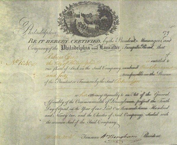 2: WILLIAM BINGHAM - 1795 Stock Cert Signed