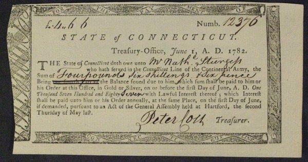 5: Patriot PETER COLT - Document Signed 1782