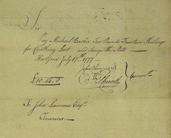 9: Jurist OLIVER ELLSWORTH - 1777 Document Signed