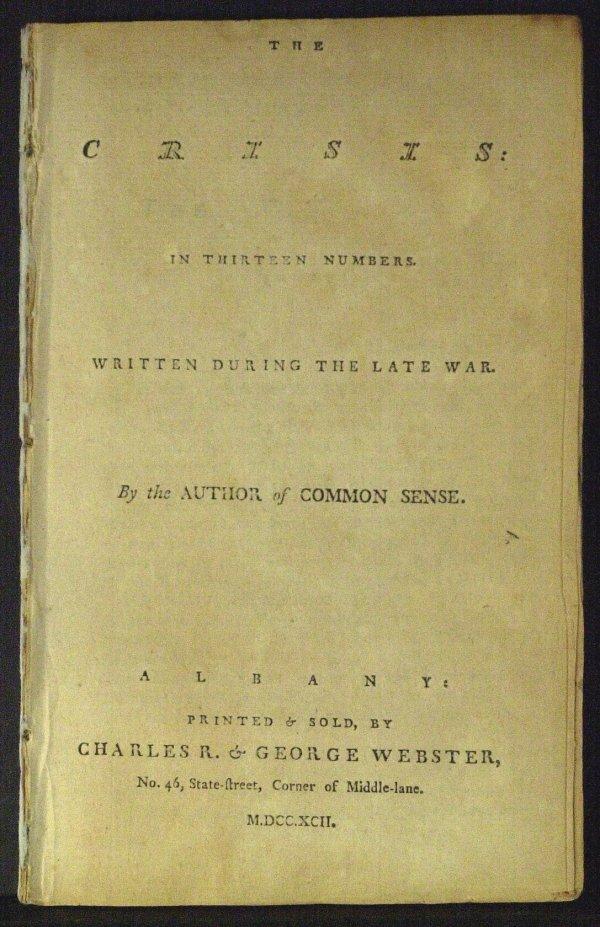 "20: THOMAS PAINE - 1792 Copy of ""THE CRISIS""  *RARE*"