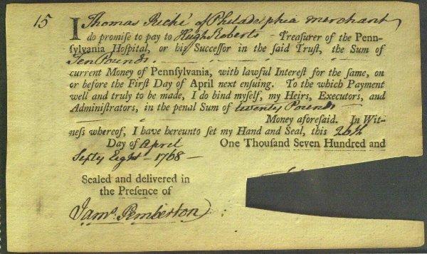 21: Quaker Merchant JAMES PEMBERTON - Doc Signed