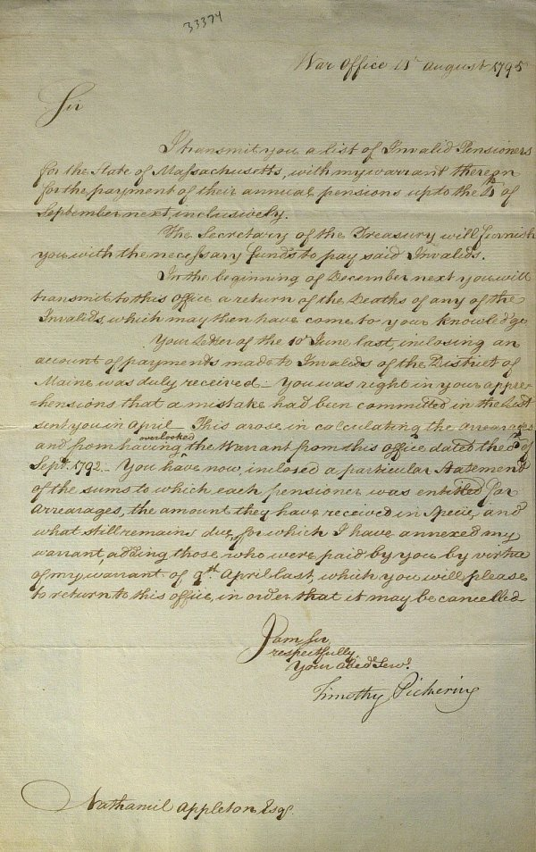 22: Patriot TIMOTHY PICKERING - Letter Signed 1795